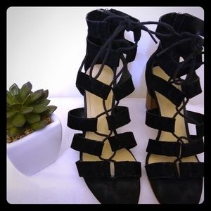 Marc Fisher Suede Lace up Block Heel Sandals